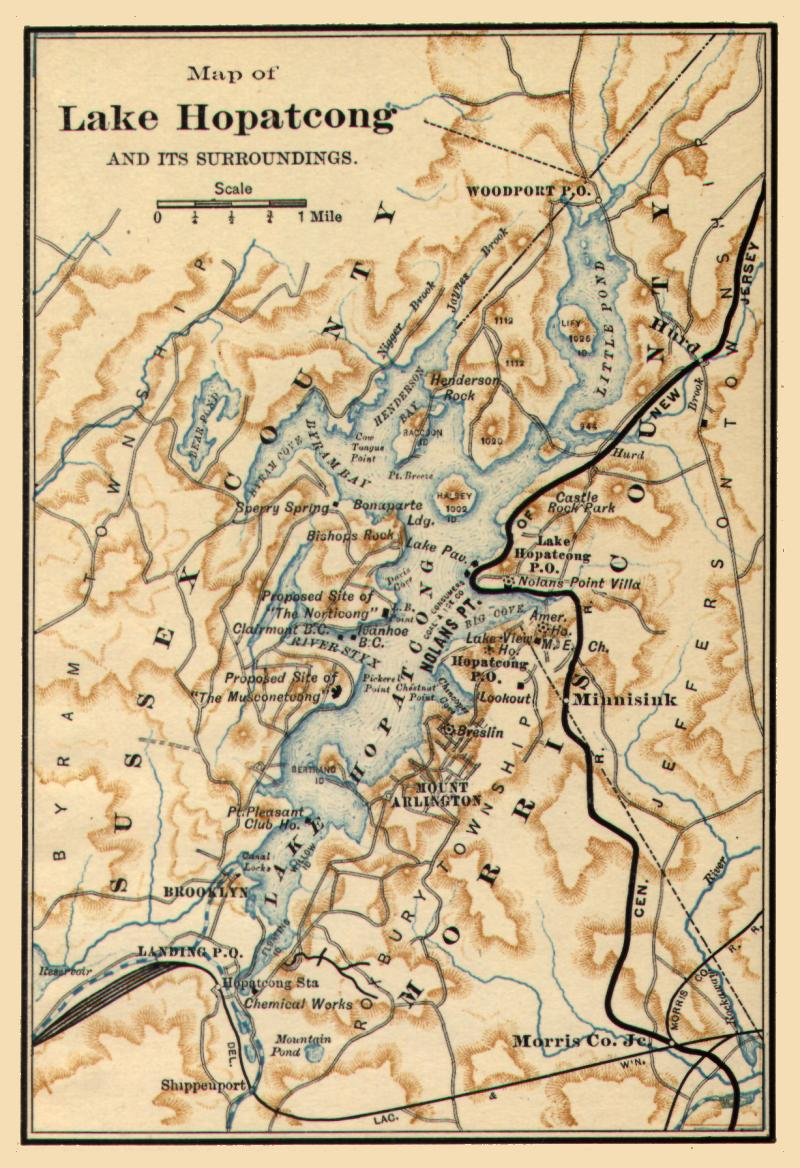 Historic 1890 map of Lake Hopatcong
